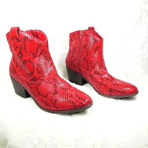 Rampage red reptile print bootie